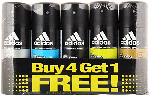 Adidas Deodorant for Men, 150 ml, Buy 4 Get 1 Free (Pack of 5)