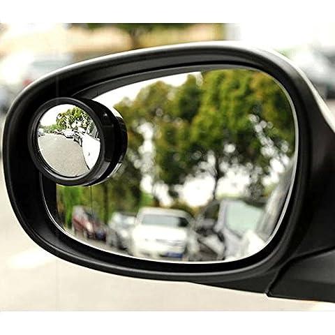EarthSafe® Un par de 2 pulgadas de ángulo muerto Ver Espejos 360 ° ajustable Automotive Adhesivo posterior Ronda de gran angular de cristal convexa Espejos (Negro)