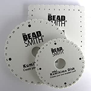Set of Three Kumihimo Disks for braiding, two round and one square plate to make round and flat woven braids using satin cords. Supplied with an illustrated instruction leaflet. by Beadsmith