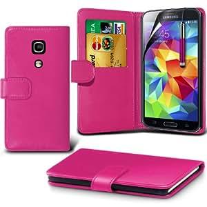 (Pink) Samsung Galaxy S5 Custom Designed Stilvolle Accessoires zur Auswahl Schutzmaßnahmen Kunst Credit / Debit-Karten-Leder-Buch-Art Wallet Case Hülle, Retractable Touch Screen Stylus Pen & LCD-Display Schutzfolie von Hülle Spyrox