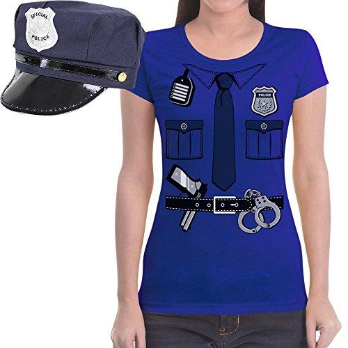 Polizeikostüm Uniform Verkleidung Karneval Set Shirt und Mütze Frauen T-Shirt Slim Fit X-Large (2017 Nummer Für Kostüm Eins)