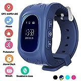 Bambini Smartwatch GPS Tracker anti-perso da polso SIM SOS chiamata Voice Chat telefono pedometro da controllo genitore IOS Android Smartphone App (Palmtalkhome Q50) (Dark Blue)