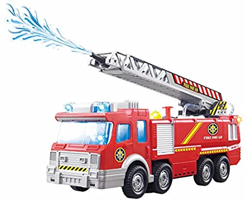 ToyZe® Fire Engine with Water Pump and Extending Ladder with Flashing Lights & Sirens, Battery Operated Bump & Go Action Toy