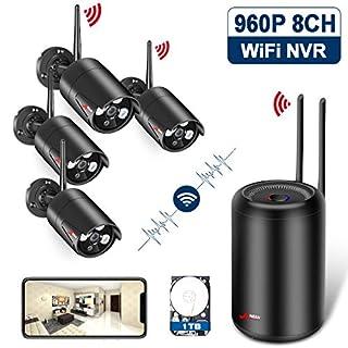 ANRAN HEVC WLAN Überwachungskamera Set, 960p 8 Kanal WiFi NVR mit 4 IP Überwachungskameras samt 1TB Festplatte, Wasserdicht Video Überwachung Kamera Kits, Automatische Verbindung, Remote Zugriff