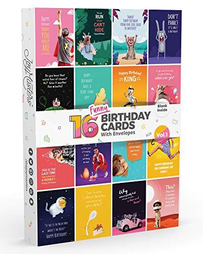 16 x Joy MastersTM LUSTIGE Geburtstagskarten 1. Auflage | Set von WITZIGE Glückwunschkarten für Geburtstag