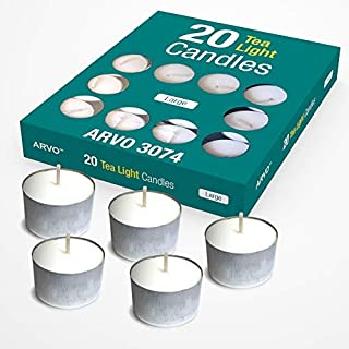 ARVO Tealight Candles White, Unscented, 6-8 Hour Burn Time Wax Candles Pack of 20