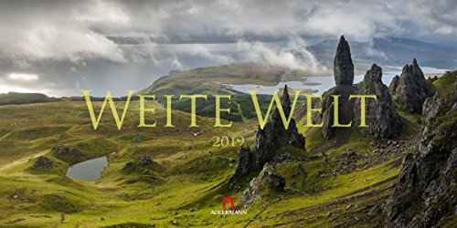Weite Welt 2019, Wandkalender / Panoramakalender im Querformat (66x33 cm) - Landschaftskalender / Naturkalender mit Monatskalendarium