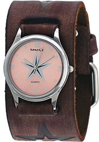 Nemesis #BBFST355P Women's Brown Wide Cuff Leather Embossed Star Icon Band Watch
