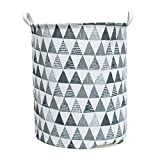 Clothes Baskets Laundry - Diadia Laundry Baskets with Handles, Laundry Hamper Collapsible, Waterproof Canvas Clothes Bin, Fabric Storage Basket for Baby Room, Bathroom, Nursery, Cabinet,40x50cm (D)