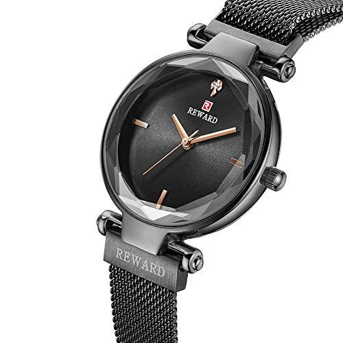 GLxlsbz Damen Uhr Silber,Damen Einfach Edelstahl Armbanduhr Silber Gold Rosegold Farbe Quarzuhr Analog mit Batterie, Black