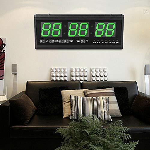 SHIOUCY 3 Zoll Nummer LED Wanduhr 24 Stunden Anzeige Arbeitszimmer Wohnzimmer Kunststoff Wochenanzeige, Ewiger Kalender, Dekoration, Monatsanzeige, Thermometer, Kalender, 24-Stunden-Anzeige