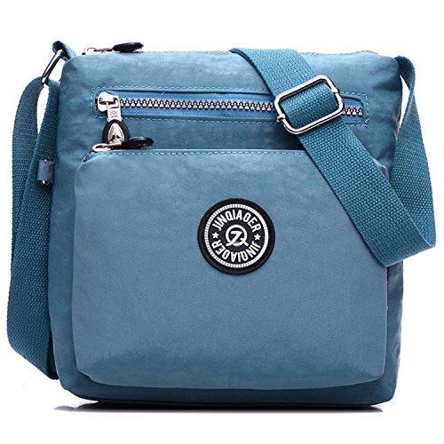 Outreo Designer Messenger Bag Schultertasche Wasserdicht Kuriertasche Mode Umhängetasche Damen Taschen Leichter Kleine Reisetasche für Mädchen Blau 4