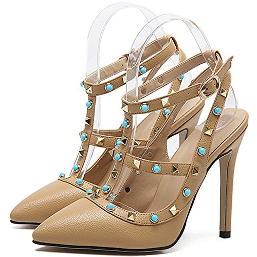 Oasap Women's Fashion Pointed Toe High Heels Ankle Strap Rivet Pumps Black