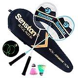 Senston 2 Luminous Raquette de Badminton + 2 Volant à LED, Fluorescence Glow in The Dark, Plage JardinJeuSports d'intérieur en Plein air - Illuminez Votre Nuit