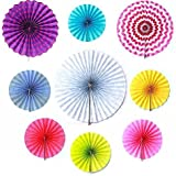 SUNBEAUTY Assorted Colors/Patterns 9pcs/set Polk Dot/ Strip/Solid Decorative Accordion Paper Fan Party Wedding Home Decor by Pingyang county Mei Chen paper plastic products co