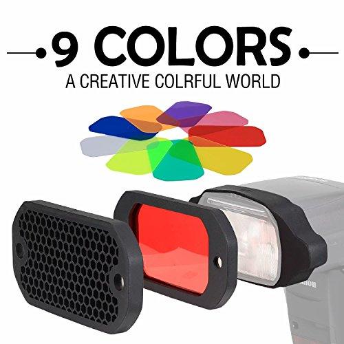 AODELAN Blitz Filter Kamerablitz Gel Beleuchtungsfilter Farbfolien Gitter und Farbiges Gel Filterset mit dem Magnetischen Stapelbaren System für Canon Nikon Sony Godox Yongnuo Speedlite