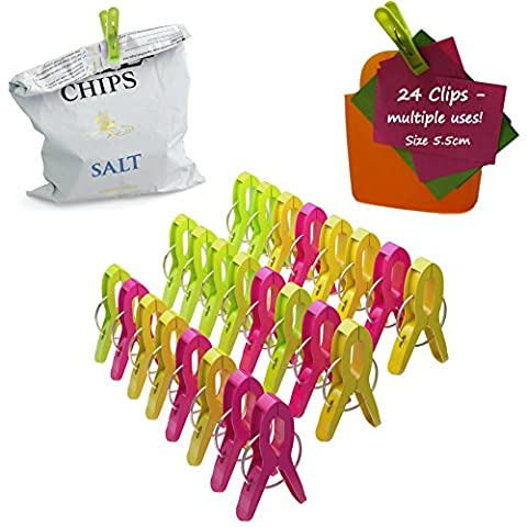 Food Bag Clips 24-Pack Assorted Plastic Freezer Multi Purpose Bag Sealer Clip for Food Storage Sealing Pegs Kitchen Laundry Office