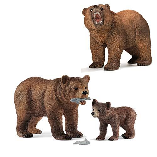 Wildlife Schleich 42473 Grizzlybär-Mutter mit jungem + 14685 Grizzlybär