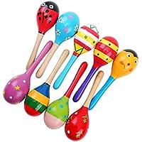 Veewon 4 Stück 20cm Holzrassel hölzern Rassel Maracas Rattert Shaker Schlagzeug Kinder Musikinstrument Spielzeug, zufällige Farbe