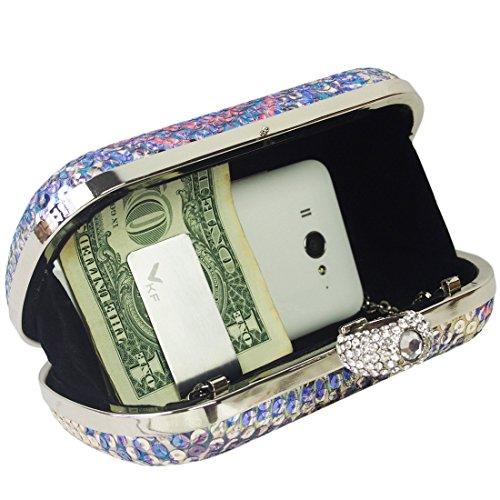 Missy K con anelli con strass Custodia rigida paillettes partito di sera pochette + Money Clip s2