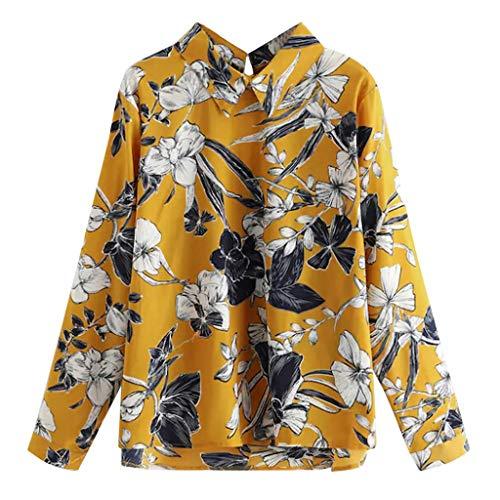 T.boys Plus Frauen Blumendruck Bluse Boho Langarm Shirt Sommer Hawaiihemd für Strand Freizeit -