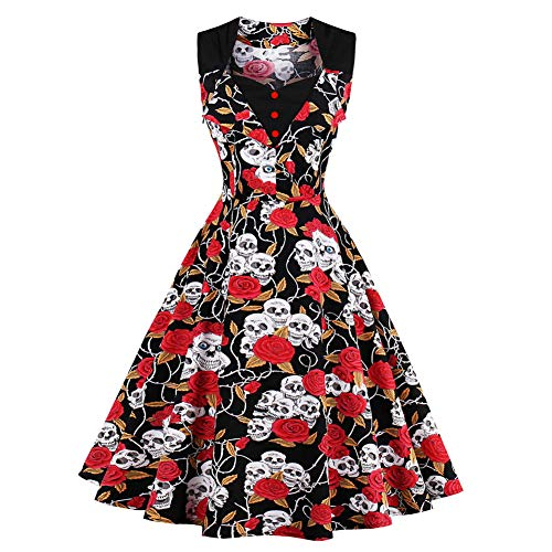 Lover-Beauty Damen Vintage 1950er Partykleid Rockabilly Ärmellos Retro Cocktailkleid