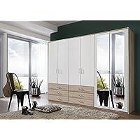DANZIG Modernes Kleiderschrank mit Spiegel, Weiß / eiche, 225 x 58 x 210 cm