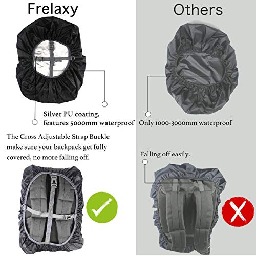 51tCrmbeToL. SS500  - Frelaxy Waterproof Backpack Rain Cover, 15-90L Rucksack Bag Cover with Upgraded Non-Slip Cross Buckle Strap & Rainproof Storage Pouch & Silver PU Coating, Perfect for Outdoor Activities