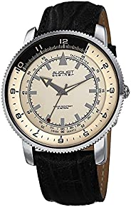 August Steiner Men's Coin Edge Watch - Monochrome Two Tone Tachymeter Dial Leather S