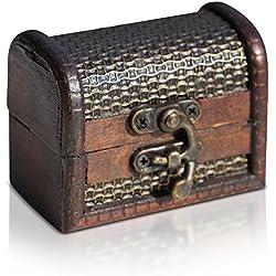 Brynnberg - Caja de Madera Cofre del Tesoro Pirata de Estilo Vintage, Hecha a Mano, Diseño Retro 8x4,5x6cm