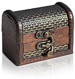 Piraten-Schatztruhe von Thunderdog - Holztruhe braun - Handarbeit Vintage mit und ohne Schloss Verschiedene Größen - Das ideale Geschenk unsere Schatzkiste (Kleine Truhe 8x4,5x6cm)
