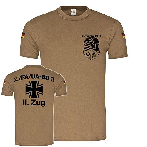 BW Tropen 2 FA-UA Btl 3 II Zug Feldwebel Unteroffizieranwärterbataillon Kompanie Zug Tropenshirt Lehrgang T-Shirt #20390, Farbe:Khaki, Größe:Herren S (T-shirt S/s Fa)