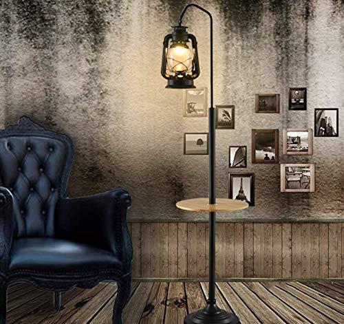 CCLAY Retro Stehlampe Europäisches Wohnzimmer kreative Pferd Lampe Cafe Petroleumlampe American einfaches Schlafzimmer alte Öllampe,Woodencoffeetable