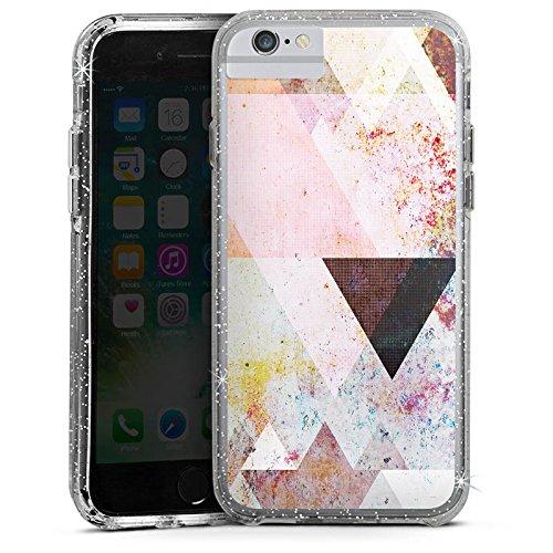 Apple iPhone 7 Bumper Hülle Bumper Case Glitzer Hülle Dreiecke Triangles Grafisch Bumper Case Glitzer silber