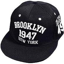 Tongshi Bordado de la manera Snapback Boy Hip Hop ajustable del sombrero gorra de béisbol unisex (Negro)