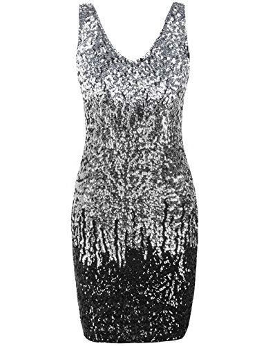 PrettyGuide Damen reizvoller tiefer V-Ausschnitt Pailletten Glitzer Bodycon Stretchy Minipartei-Kleid M ()