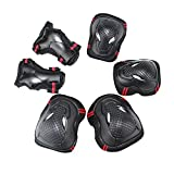 Children Knee Pads, iTECHOR Youth Adult Version Safety Elbow Wrist Pads Protective Gear Guard Set for Inline Roller Skating Extreme Sports - Black + Red Size L - iTECHOR - amazon.co.uk