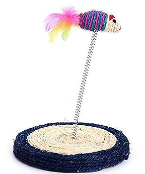 DAN Jouet pour chat,Poteau de rayure et de moquette avec jouet en plume de chat , color random 19.5*23.7cm