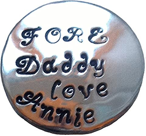 'FORE Daddy' Personalised Custom Hand Stamper Sterling Silver Golf Ball Marker