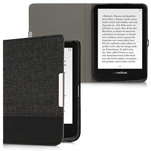 kwmobile Pocketbook Touch Lux 4/Basic Lux 2/Touch HD 3 Hülle - Canvas eReader Schutzhülle Cover Case für Pocketbook Touch Lux 4/Basic Lux 2/Touch HD 3