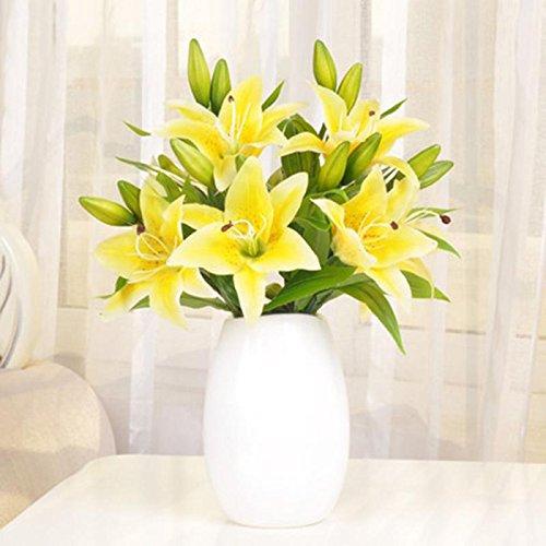 Longra Wohnaccessoires & Deko Kunstblumen 5pcs neue Seidenblume künstlichen Lilien Strauß 3 Köpfe Home Hochzeit Blumen Dekor (yellow)