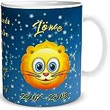 TRIOSK Tasse Smiley Sternzeichen Löwe lustiges Geschenk Geburtstag Frauen Männer Freunde Kollegen, Blau Gelb, 300 ml
