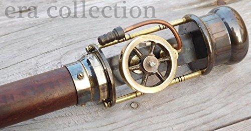 Style rétro Canne de marche en direct machine à vapeur Modèle en bois Canne bâton de marche Laiton