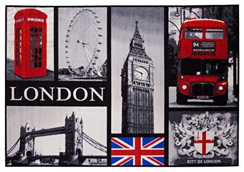 Andiamo 1100334 London Städte / Fototeppich Collage Tower Bridge Big Ben UK Britisch England Tuft Oeko Tex waschbar, 120 x 170 cm, schwarz
