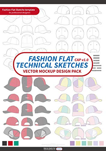 Cap Fashion flat technical drawing vector mockup design: Vector Apparel Templates and Fashion Flats Sketches (English Edition)