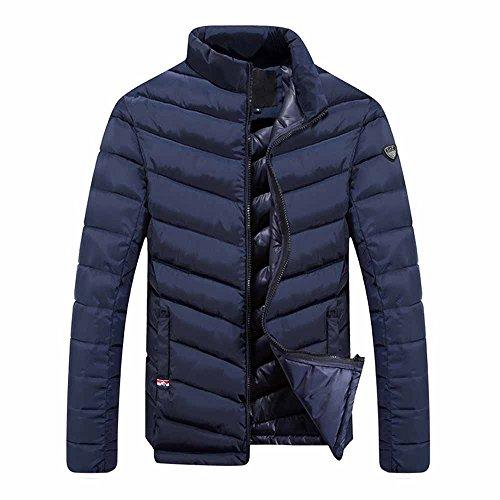 Leggero Outdoor Giacca invernale Uomo Slim Fit supporto colletto giacca trapuntata Dark Blue Medium