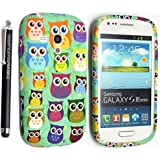 SAMSUNG GALAXY S3 MINI I8190 SILICONE SILIKON CASE SKIN GEL TPU Hülle COVER + STYLUS BY GSDSTYLEYOURMOBILE {TM} (Design 01 Multi Owls)
