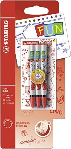 STABILO FUN Refill Patrone zum Nachfüllen - medium - inklusive 2 Aufkleberkarten zum Sammeln - 3er Pack rot (Stifte Mit Tinte Türkis)