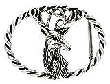 neue Gürtelschließe Gürtelschnalle Trachten Gürtelschliesse: Jagd silber 40 mm - Buckle Geburtstag Weihnachten Bayern Motiv mm