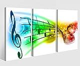 Leinwandbild 3 Tlg. Musiknoten Noten Musik Schlüssel Leinwand Bild Bilder auf Keilrahmen Holz - fertig gerahmt 9O904, 3 tlg BxH:90x60cm (3Stk 30x 60cm)